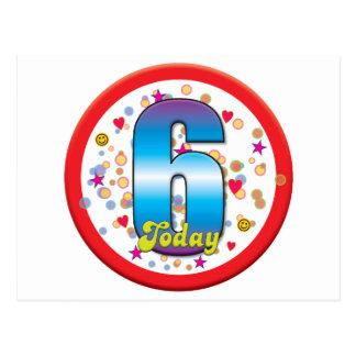 6to Cumpleaños hoy v2 Tarjetas Postales