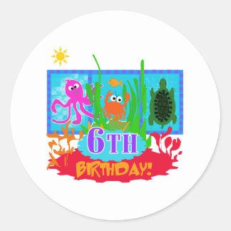 6to Cumpleaños submarino de la aventura Etiquetas Redondas