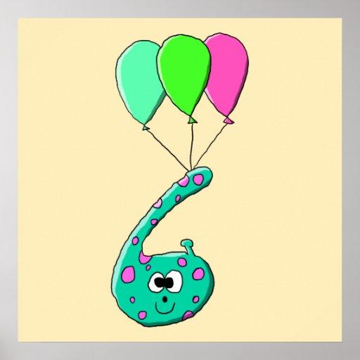 6to Dibujo animado del cumpleaños, verde del trull Posters