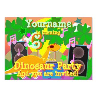"""6to El dinosaurio fresco DJ del cumpleaños va de Invitación 5"""" X 7"""""""