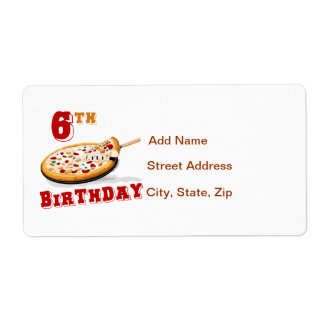 6to Fiesta de la pizza del cumpleaños Etiquetas De Envío