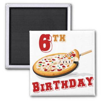 6to Fiesta de la pizza del cumpleaños Imán Cuadrado