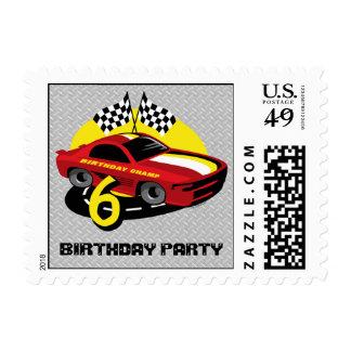 6to franqueo del cumpleaños del coche de carreras sellos postales