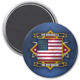 6to Infantería voluntaria de Wisconsin Imán Redondo 7 Cm