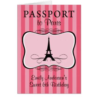 6to Invitación del pasaporte del cumpleaños Tarjeta Pequeña