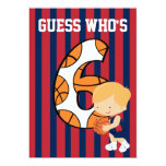6to Jugador de básquet azul y rojo del cumpleaños Invitación Personalizada