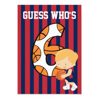 """6to Jugador de básquet azul y rojo del cumpleaños Invitación 5"""" X 7"""""""