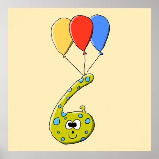 6to Monstruo del dibujo animado del cumpleaños Impresiones