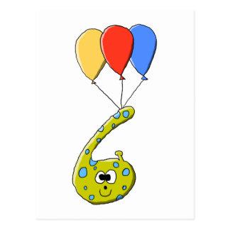 6to Monstruo del dibujo animado del cumpleaños Tarjeta Postal