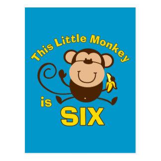 6to muchacho de Birhday del pequeño mono Tarjetas Postales