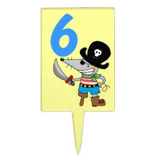 6to muchacho del pirata del cumpleaños decoraciones de tartas