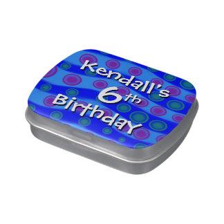 6to Ondas del azul del favor del cumpleaños de la  Frascos De Caramelos