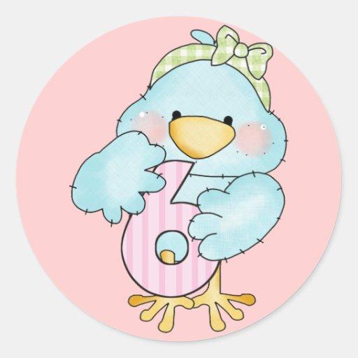 6to Pájaro del chica del cumpleaños Pegatina Redonda