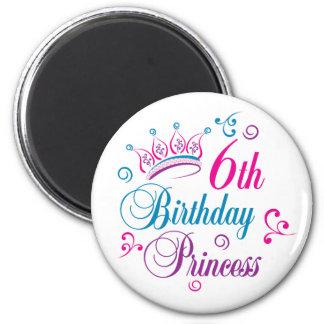 6to Princesa del cumpleaños Imán Redondo 5 Cm