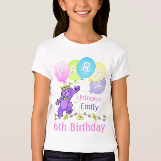 6to Princesa del cumpleaños, nombre de encargo Playera
