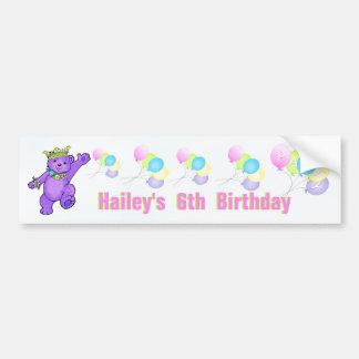 6to Princesa púrpura Bear de la fiesta de cumpleañ Etiqueta De Parachoque