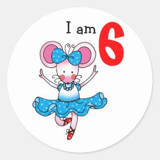 6to regalo de cumpleaños para un chica, bailarina pegatina redonda