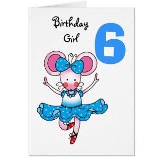 6to regalo de cumpleaños para un chica, bailarina tarjeta de felicitación