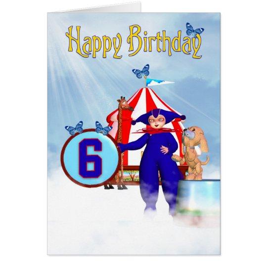 6to Tarjeta de cumpleaños - pequeño payaso lindo d