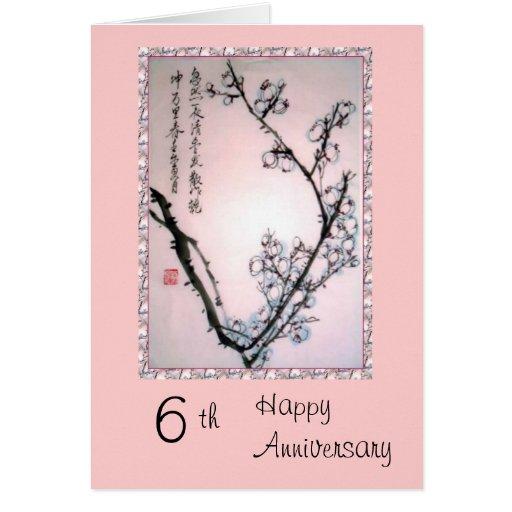 6to Tarjeta del aniversario