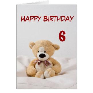 6to tema del oso de peluche del feliz cumpleaños tarjeta de felicitación