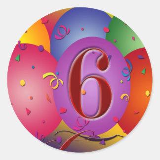 ¡6tos globos felices del cumpleaños etiqueta