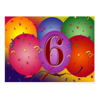 ¡6tos globos felices del cumpleaños! postales