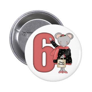 6tos regalos de cumpleaños del pequeño ratón pin redondo de 2 pulgadas