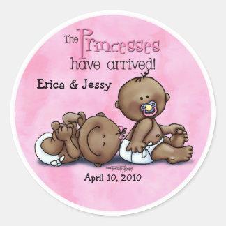 6x6-aa-twins-PRINCESSESarrived Classic Round Sticker