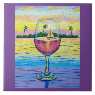 6x6 Tile,  A Glass of Wine, a World Away! Ceramic Tile