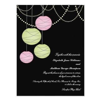"6x8 Wedding Pink & Green Paper Lanterns Invite 6.5"" X 8.75"" Invitation Card"