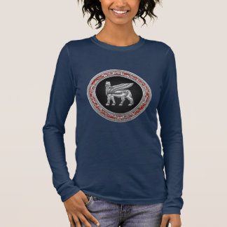 [700] Babylonian Winged Bull [Silver] [3D] Long Sleeve T-Shirt