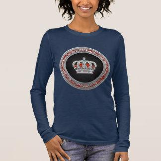 [700] Prince-Princess King-Queen Crown [Silver] Long Sleeve T-Shirt