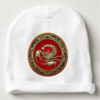 [700] Sacred Golden Scorpion on Red Baby Beanie