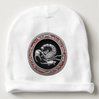 [700] Sacred Silver Scorpion on Black Baby Beanie