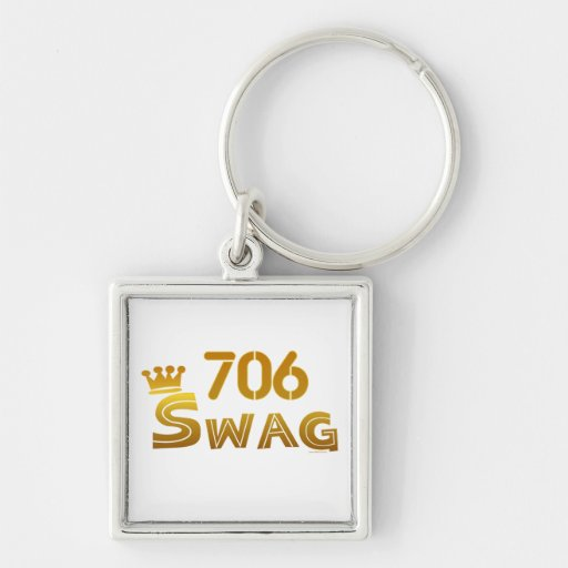 706 Georgia Swag Silver-Colored Square Keychain