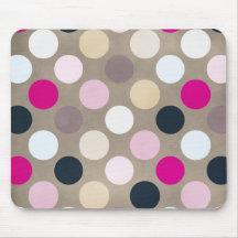 7096_polka-dots-44-pink-brown POLKA DOTS HOT PINK Mousepad
