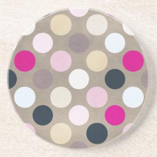 7096_polka-dots-44-pink-brown POLKA DOTS HOT PINK Sandstone Coaster