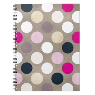 7096_polka-dots-44-pink-brown POLKA DOTS HOT PINK Spiral Note Books