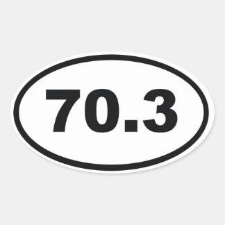 70,3 millas de medio Triathlon Pegatina Ovalada