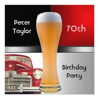 """70.a cerveza roja retra roja para hombre del coche invitación 5.25"""" x 5.25"""""""