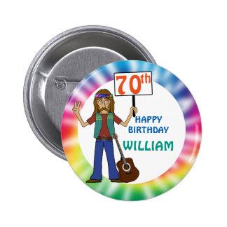 70.a fiesta de cumpleaños del viejo del Hippie Pin Redondo De 2 Pulgadas