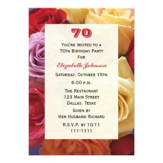 70 a invitación de la fiesta de cumpleaños de los