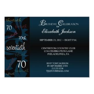 70.a invitación de la fiesta de cumpleaños del invitación 12,7 x 17,8 cm