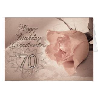 70.a tarjeta de cumpleaños color de rosa elegante