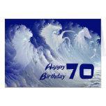 70.a tarjeta de cumpleaños con los caballos blanco