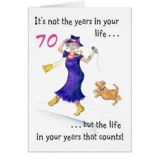 70 a tarjeta de cumpleaños de la diversión para un