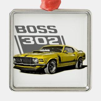 70 amarillo de Boss 302 Adorno Navideño Cuadrado De Metal