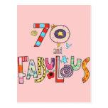 70 and Fabulous Happy 70th Birthday Postcard