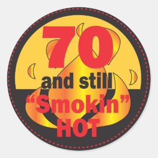 70 and Smokin Hot | 70th Birthday Classic Round Sticker